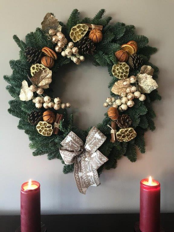 Christmas wreath by Amethyst Horticulture